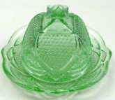 Vintage Style Light Green Glass Covered Butter Dish