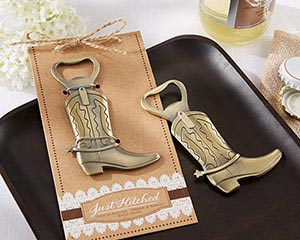 """Just Hitched"" Cowboy Boot Bottle Opener Wedding Favor"