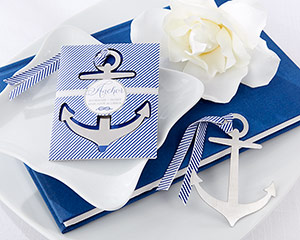"""Anchor"" Nautical-Theme Brushed-Metal Book Mark Favors"