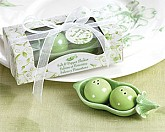 Two Peas in a Pod - Ceramic Salt & Pepper Shakers Favors in Ivy Print Gift Box