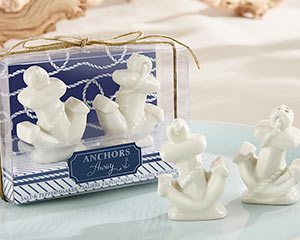 """ANCHORS AWAY"" CERAMIC SALT AND PEPPER SHAKERS"