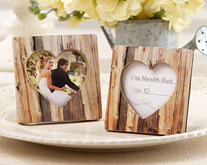 """Rustic Romance"" Faux-Wood Heart Wedding Place Card Holder/Photo Frame"