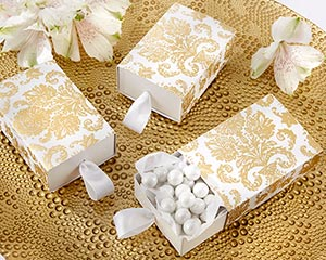 """Treasures"" Gold Damask Wedding Favor Box (Set of 24)"