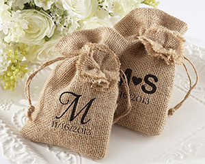 """Rustic Renaissance"" Burlap Favor Bag with Drawstring Tie"
