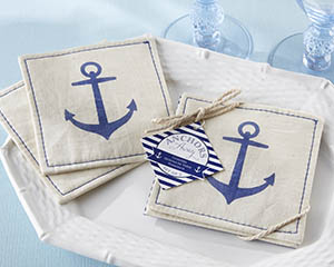 """ANCHORS AWAY"" MUSLIN COASTERS NAUTICAL"