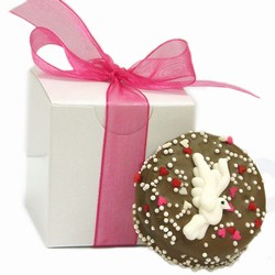 Wedding Chocolate Oreos®-Indivually Wrapped- Gloss White Favor Boxes with Ribbon