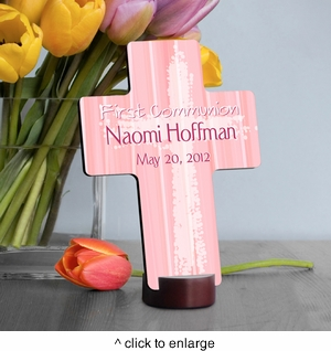 Light of God First Communion Cross - Pink