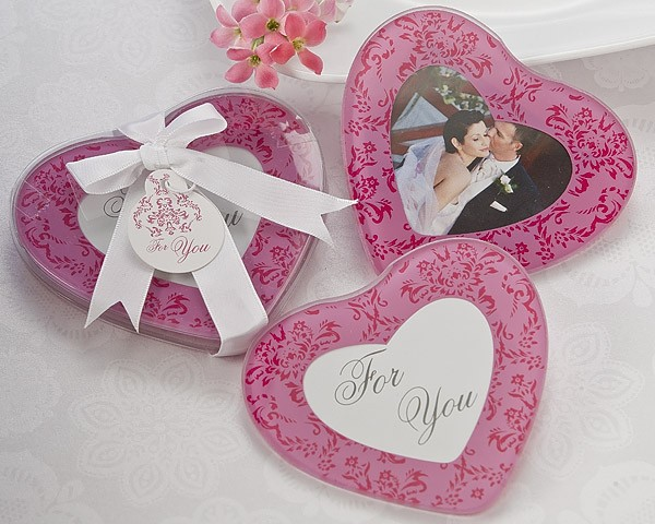 """Pretty in Pink"" Heart Glass Photo Coasters (Set of 2)"