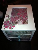 "Hand painted White ""Garden Theme"" Jewelry Box with Mirrored Top and window for your personal photo."