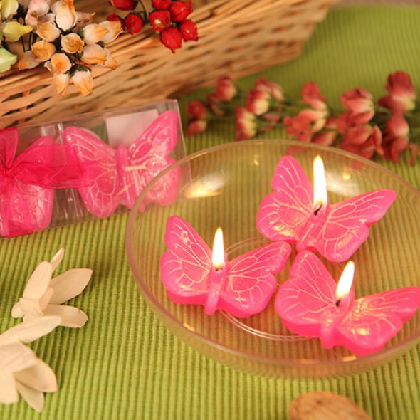 """SPRING CHEER"" HOT PINK BUTTERFLY CANDLE FAVORS (SET OF 3)"