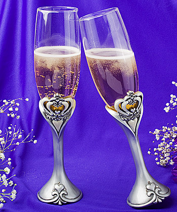 Royal Wedding Collection Crown Design Champagne Toasting Flutes