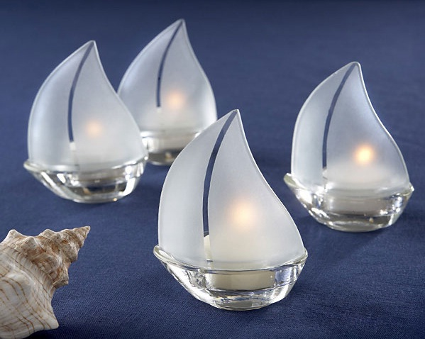 """Set Sail"" Frosted Glass Sailboat Tealight Holders, Set of 4"