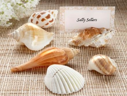 """Shells by the Sea"" Authentic Shell Placecard Holders with Matching Placecards (Set of 6)"