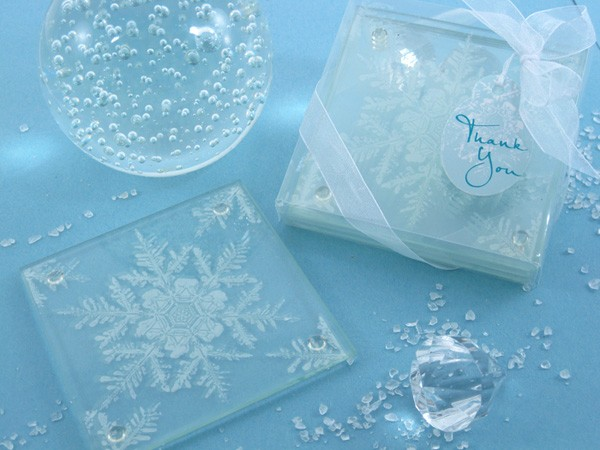 """Shimmering Snow Crystal"" Frosted Snowflake Glass Coasters (Set of 2)"