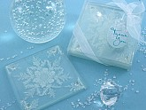 """""""Shimmering Snow Crystal"""" Frosted Snowflake Glass Coasters (Set of 2)"""