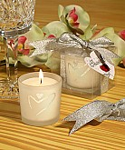 Silver Heart Design Candle Favors