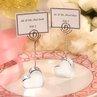 Silver Plated Heart Design Place Card Holders