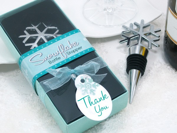Snowflake Bottle Stopper Winter Wedding Favors in Seasonal Gift Box