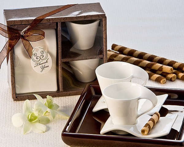 """Swish"" Cup and Biscotti Plate Favor Gift Set of 2"