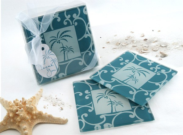 """Tropical Breeze"" Palm Tree Glass Coasters (Set of 2)"