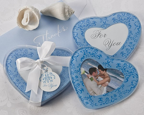 """True in Blue"" Heart Shaped Glass Photo Coasters (2pk)"