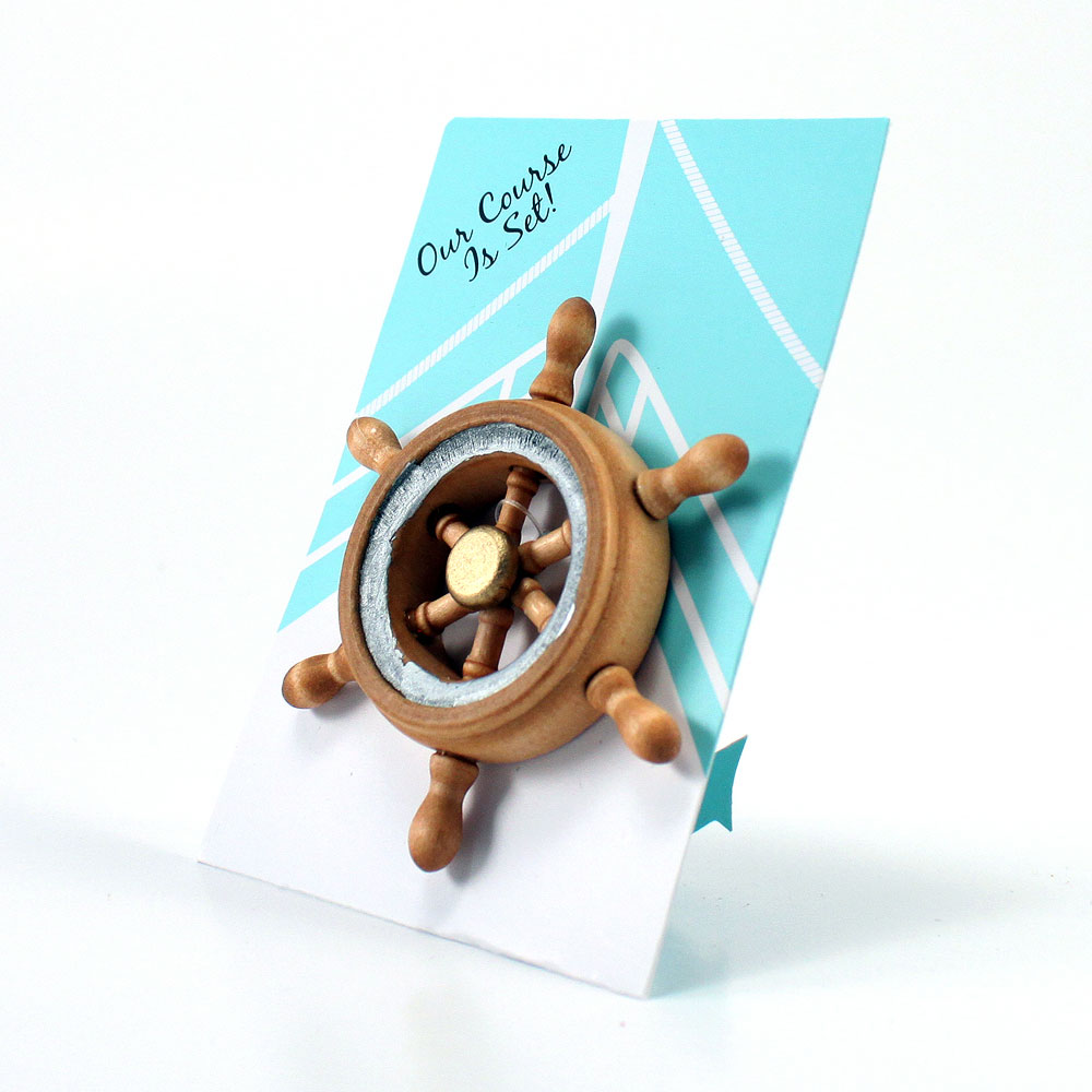 """OUR COURSE IS SET"" BOAT WHEEL MAGNET FAVOR GIFT"