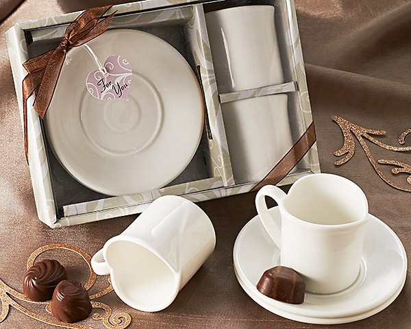 """Two Hearts"" Espresso Cup Favor Set (Set of 2)"