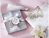 """Butterfly"" Silver-Metal Bookmark with White Silk Tassel"