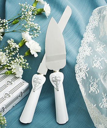 Cross And Heart Design Cake Knife/Server Set From The Love And Faith Collection