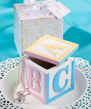 Alphabet Block Design Trinket Baby Favor Boxes