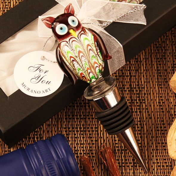 """WISE OWL"" ARTE MURANO GLASS BOTTLE STOPPER"