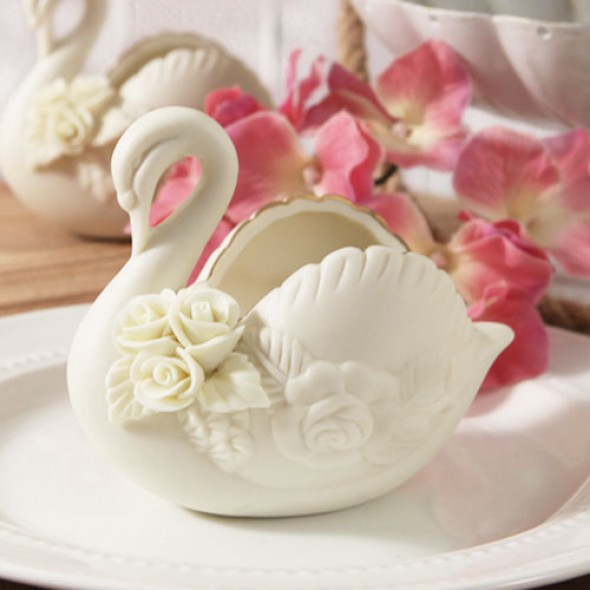 """SERENITY"" FINE IVORY BISQUE or WHITE BISQUE PORCELAIN SWAN"