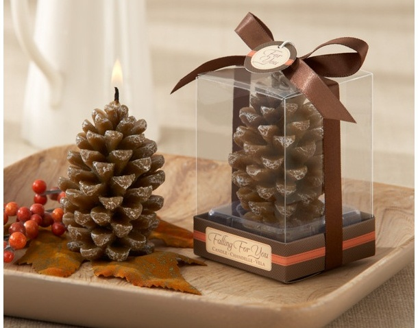 """Falling for You"" Scented Pine Cone Candle Fall/Winter Favors(Set of 4)"