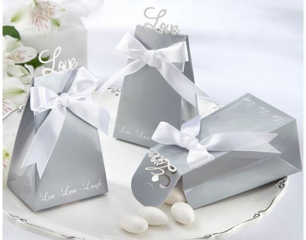 """Express Your Love"" Elegant Silver Icon Favor Box (Set of 24)"
