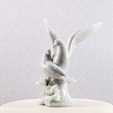 Glazed Porcelain Doves and Flowers Cake Top