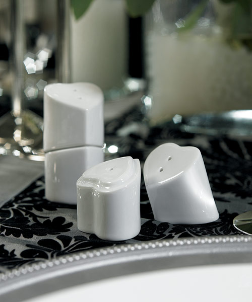 """HEART TO HEART"" INTERLOCKING SALT & PEPPER SHAKERS"