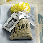 Mini Linen Drawstring Pouch with Vintage Infused Love Print (pkgs of 12)
