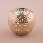 GLASS GLOBE HOLDER WITH REFLECTIVE LACE PATTERN